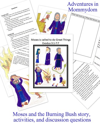 Moses and the burning bush activities story and discussion questions
