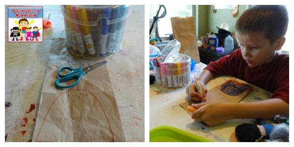 create a paper bag bear cave