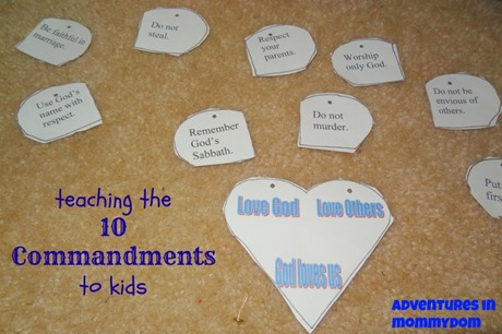 teaching the 10 commandments to kids