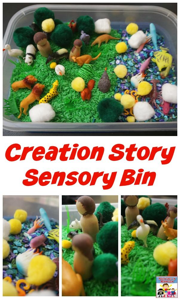 Creation Story Sensory Bin #Biblestory #kidmin #SundaySchool #sensorybin