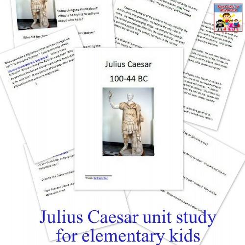 Julius Caesar printable unit study for elementary kids