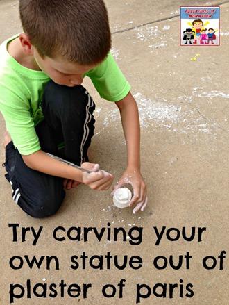 building the temple activity carve a statue