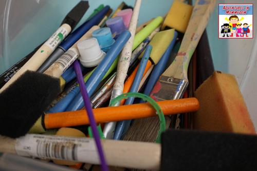 gather art supplies in one spot