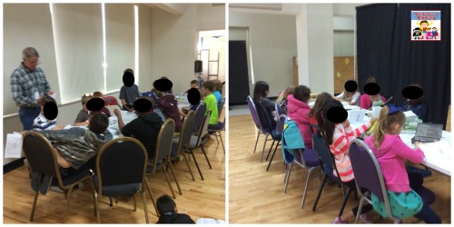 mob of kids in Sunday School