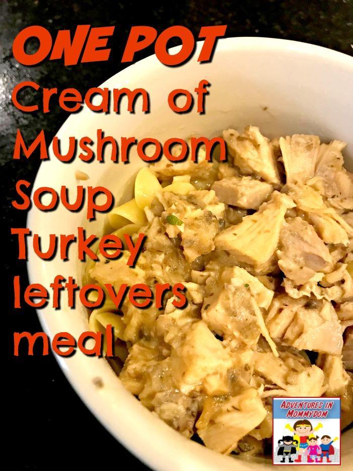 one pot cream of mushroom soup turkey leftovers meal
