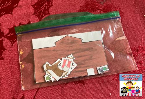 storing the mini Noah game in a ziploc bag